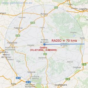 Mapa con radio de acción